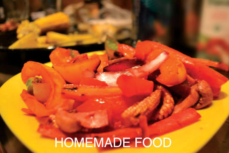 Homemade food available at Aura Kalari